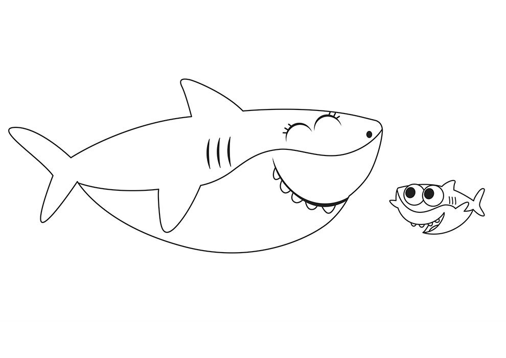 baby shark coloring page big and little shark