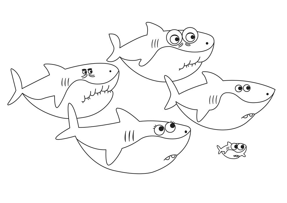 baby shark coloring page big sharks