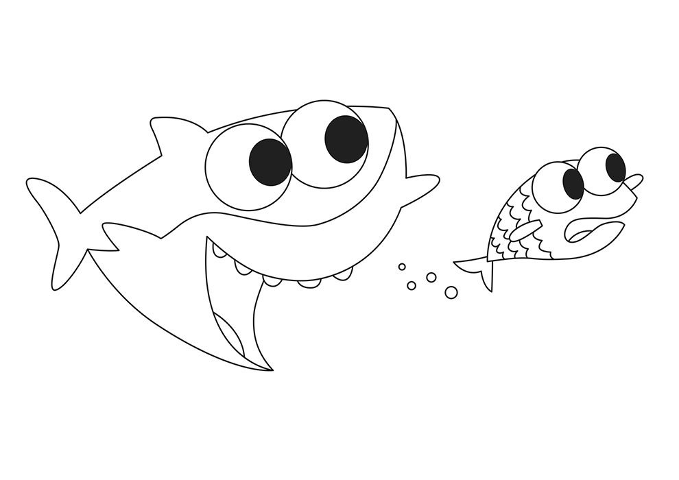 baby shark coloring page printable