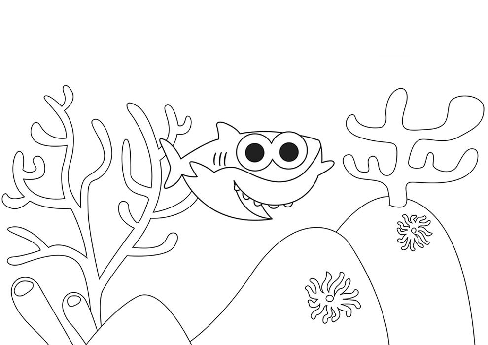baby shark coloring page sea