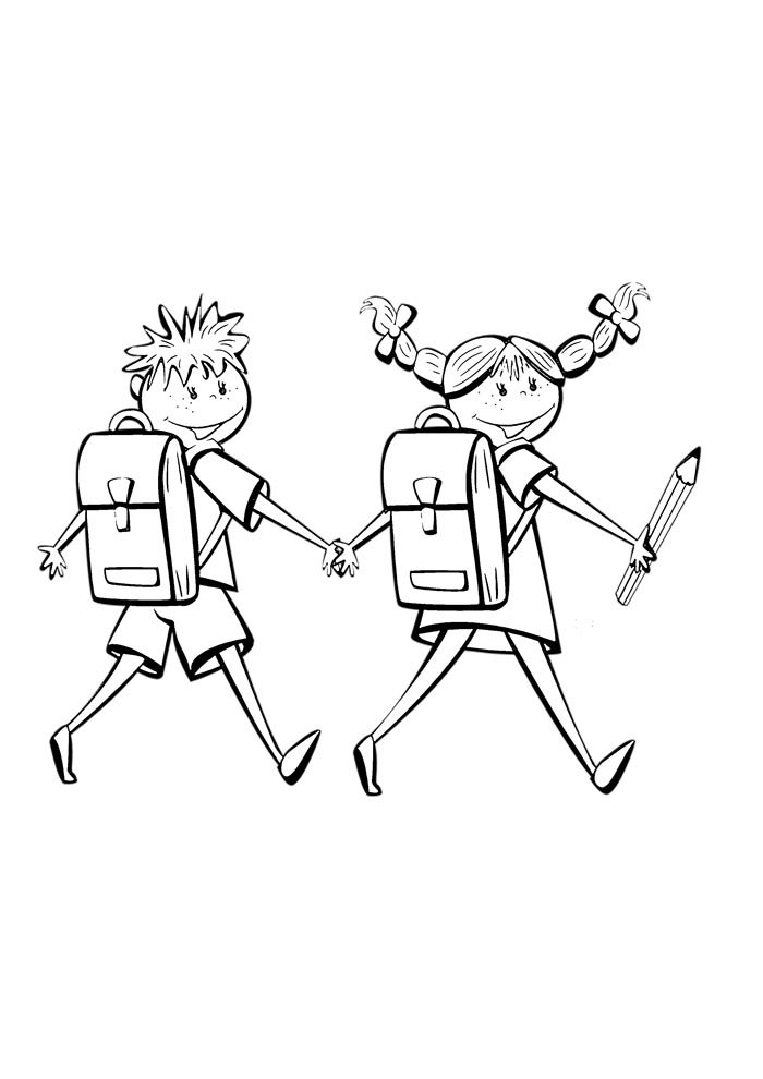 back to school coloring page boy and girl