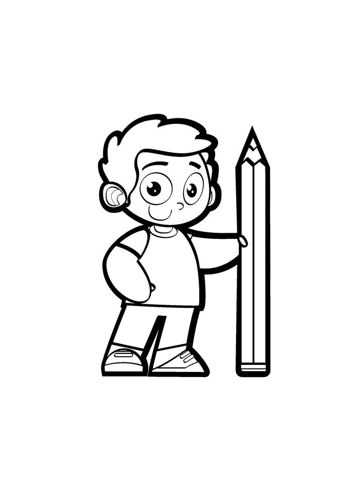 back to school coloring page boy holding pencil