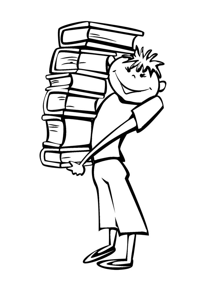 back to school coloring page carrying books