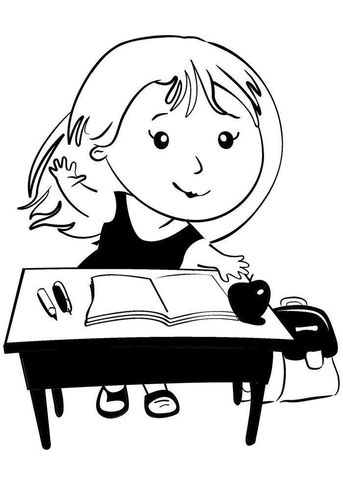 back to school coloring page girl in the classroom