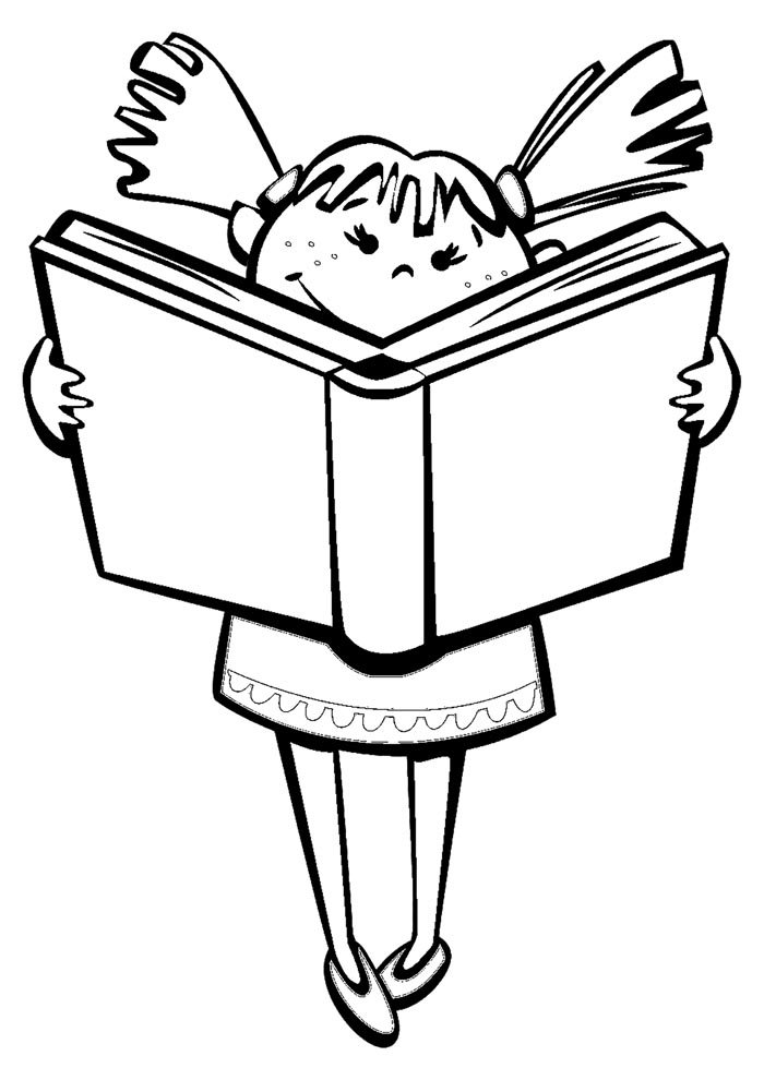 back to school coloring page girl reading book