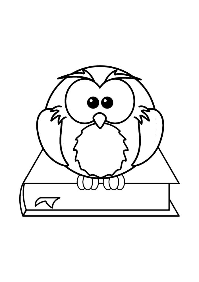 back to school coloring page owl on the book