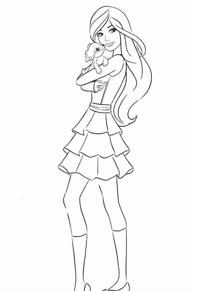 barbie coloring page and her dog