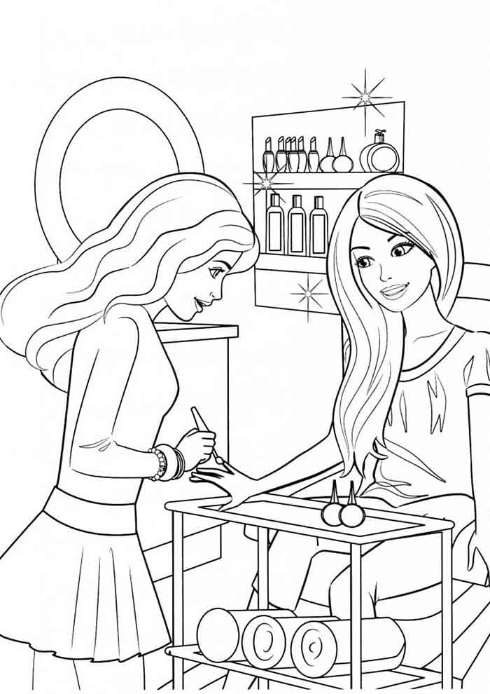barbie coloring page at the manicure