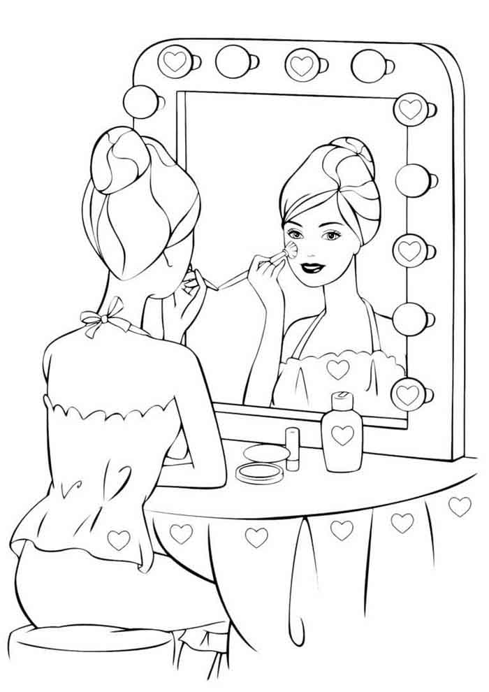 barbie coloring page in the camarin