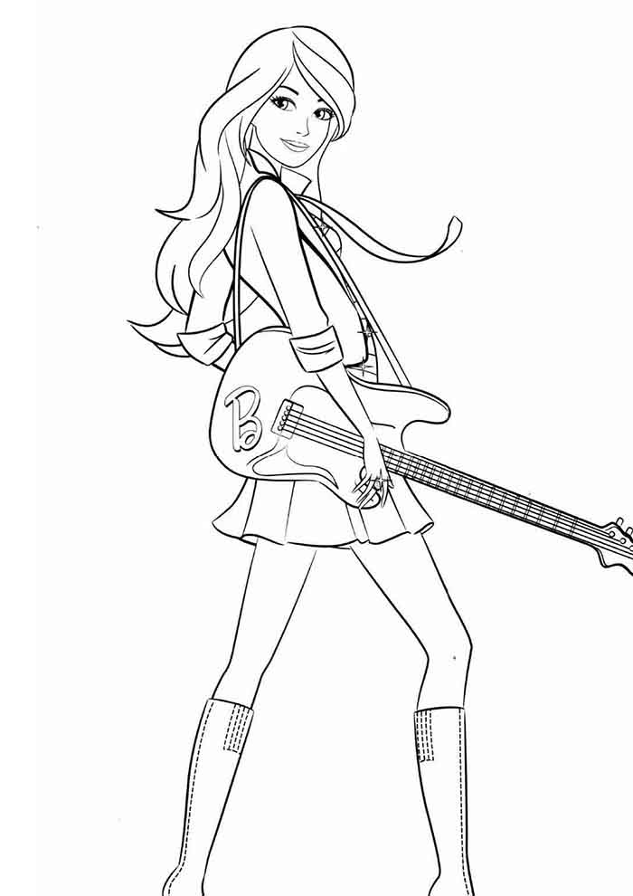 barbie coloring page rock star