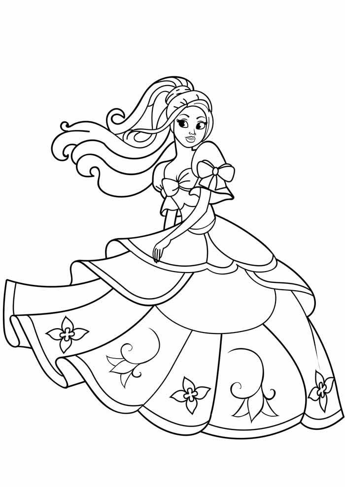 barbie princess coloring page