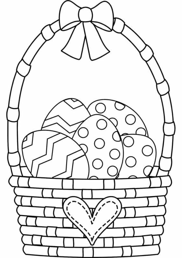 beautiful easter basket coloring page