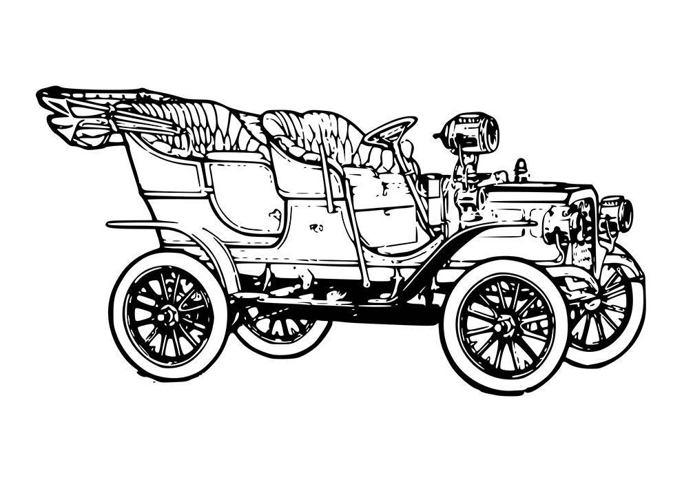 car coloring page conversible 20th