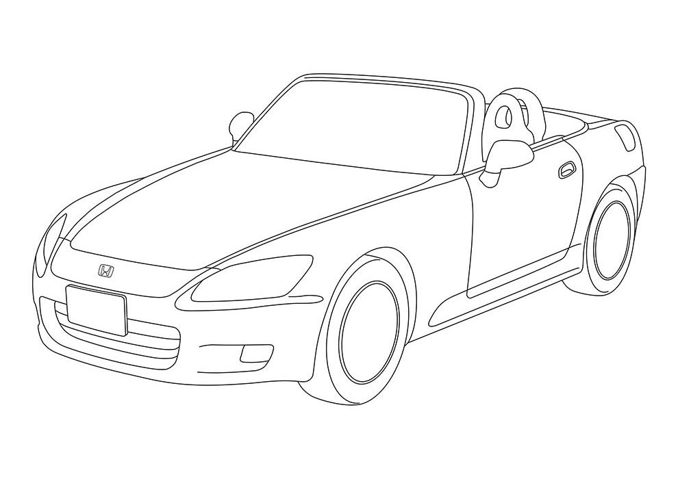 car coloring page luxury convertible