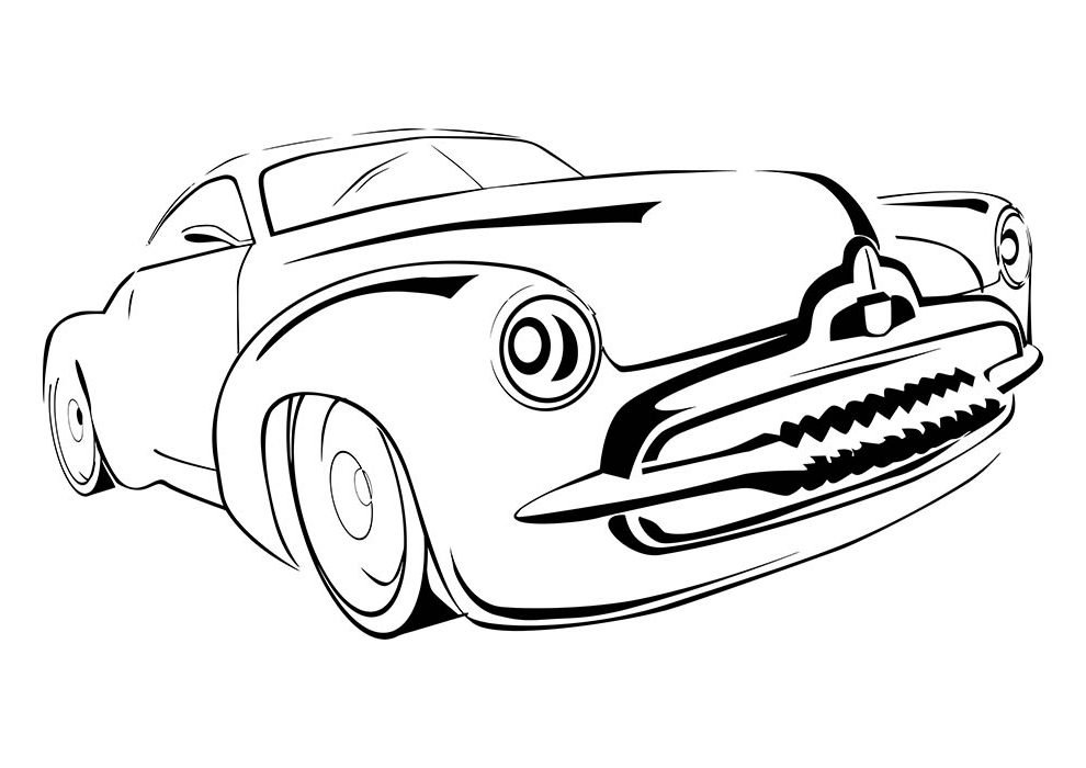 car coloring page shark