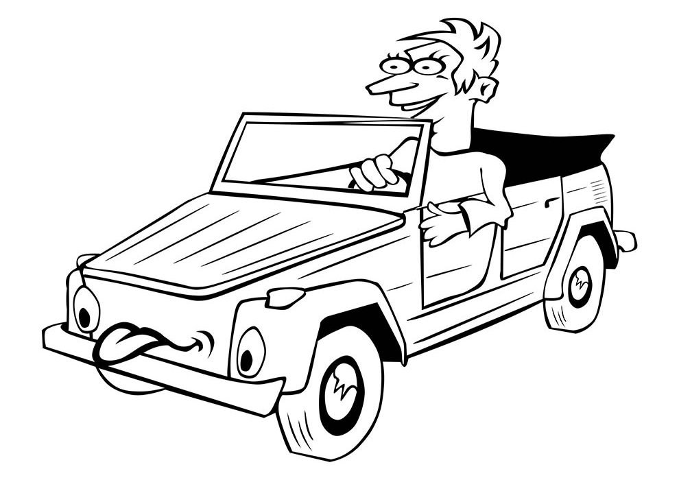 car coloring page with boy
