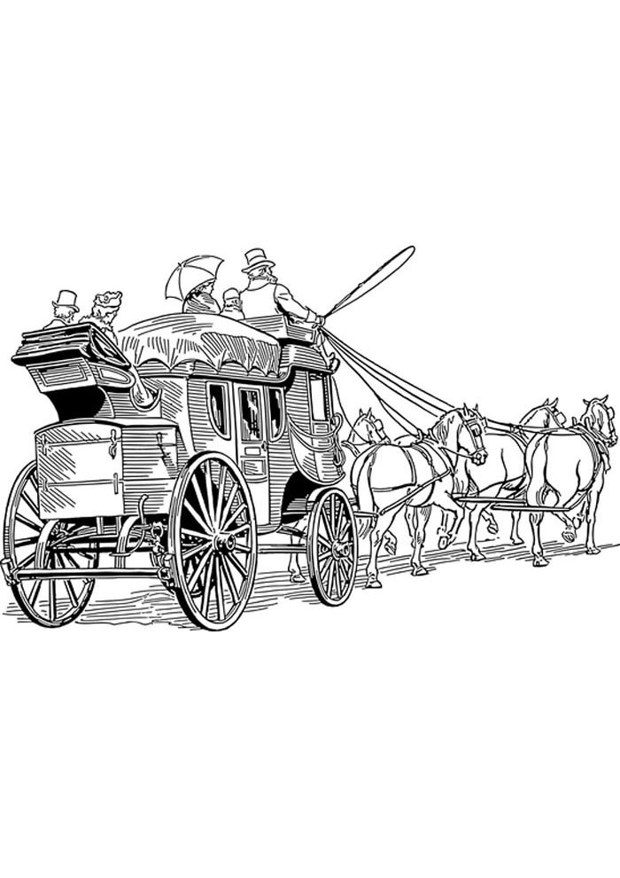 carriage coloring page