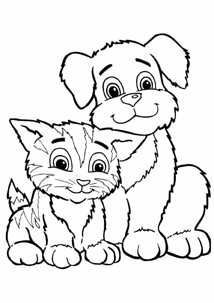 cat coloring page and cute dog