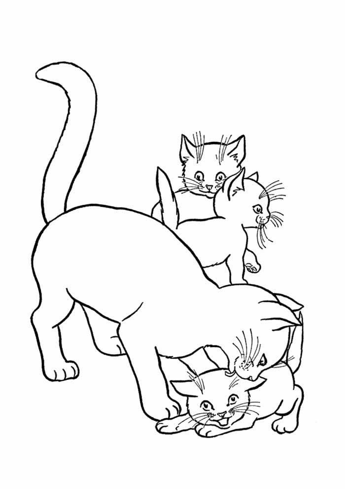cat coloring page family