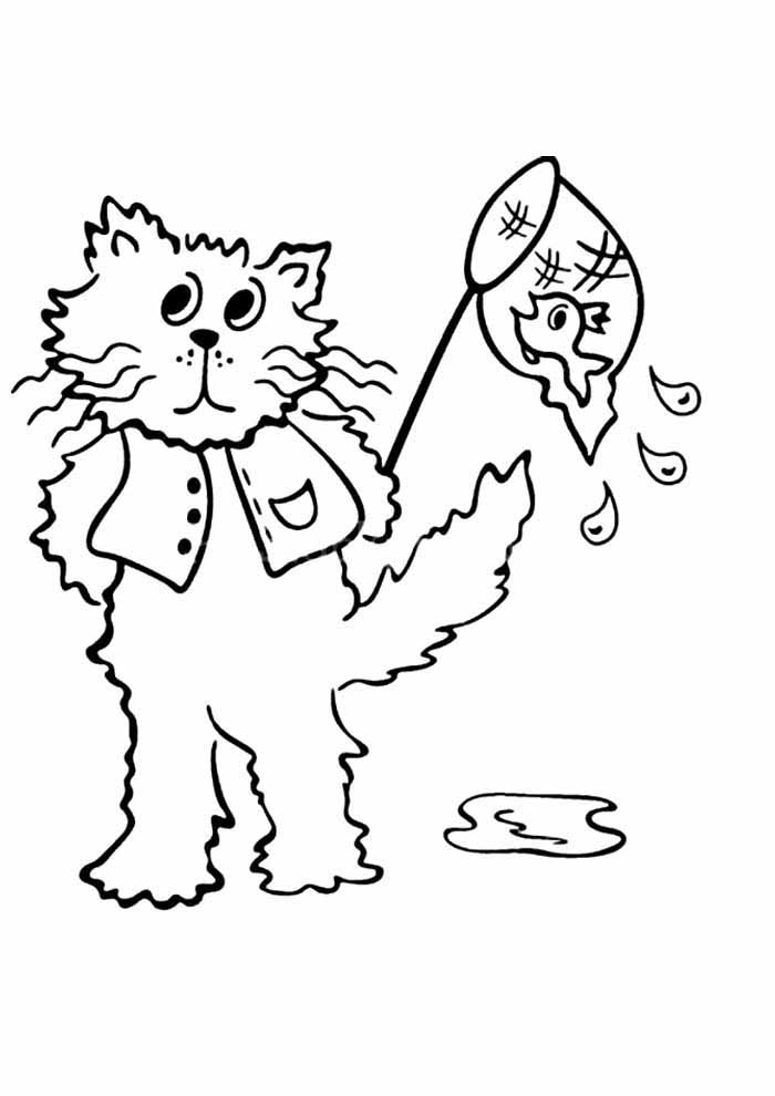 cat coloring page fish