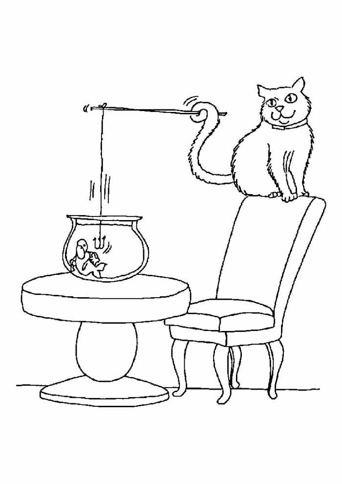 cat coloring page fishing