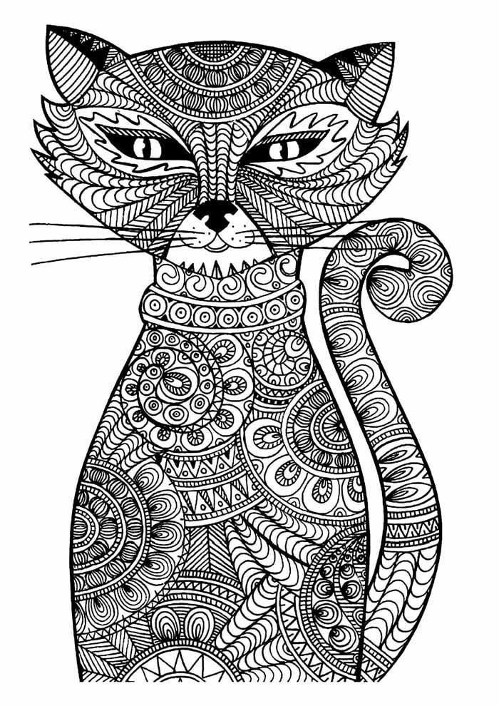 cat coloring page for adults 1