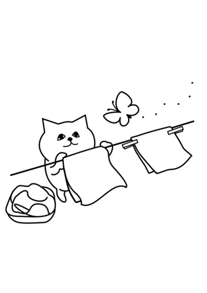 cat coloring page for kids
