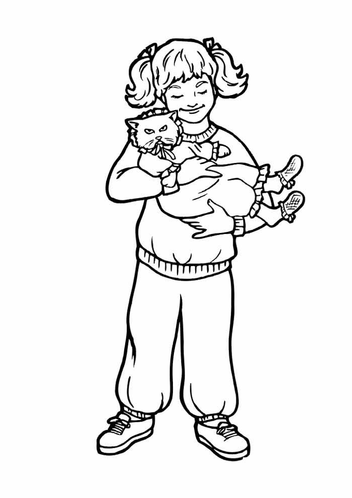 cat coloring page girl holding