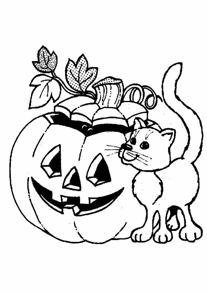 cat coloring page halooween