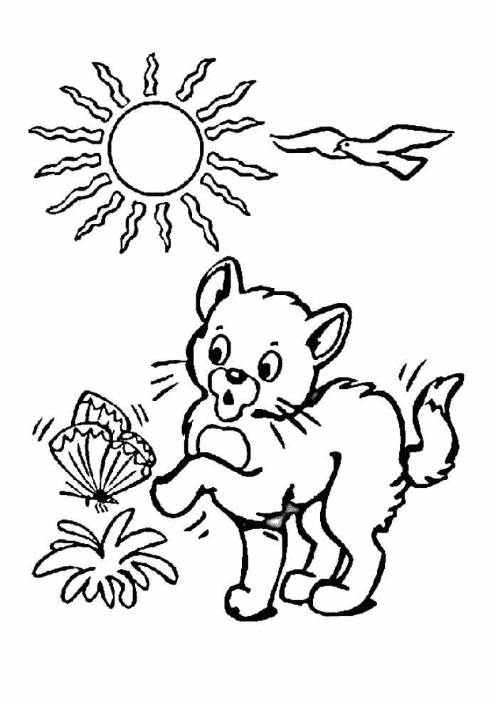 cat coloring page in the garden