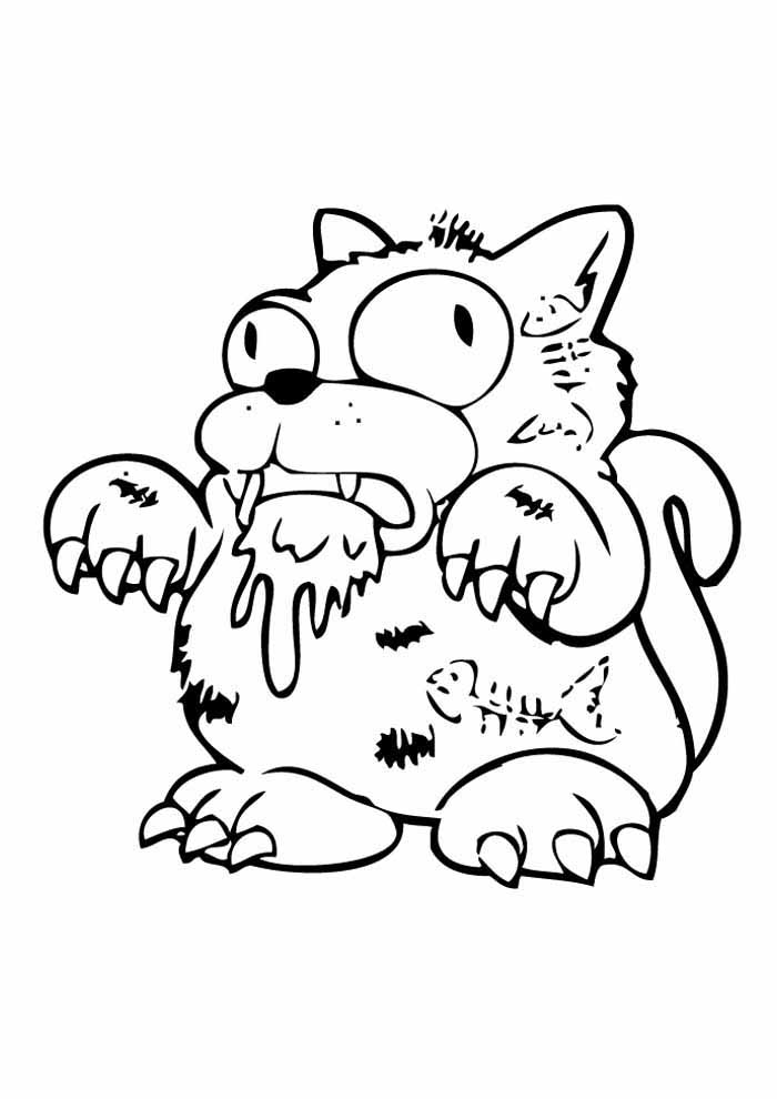 cat coloring page monster