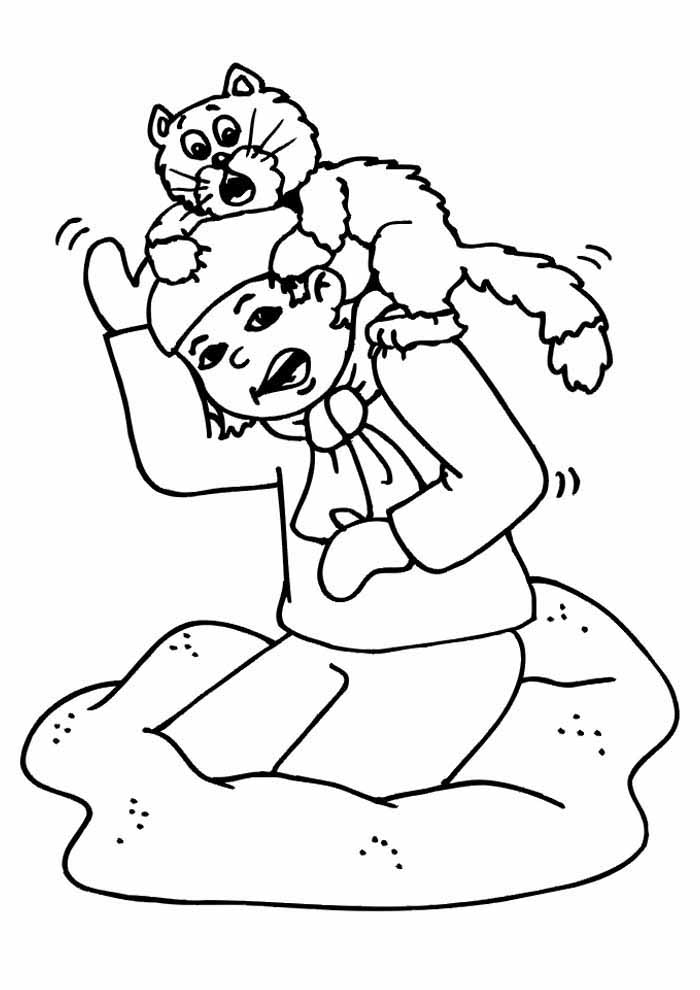 cat coloring page on boys head