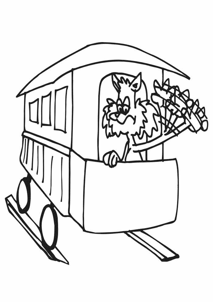 cat coloring page on the train