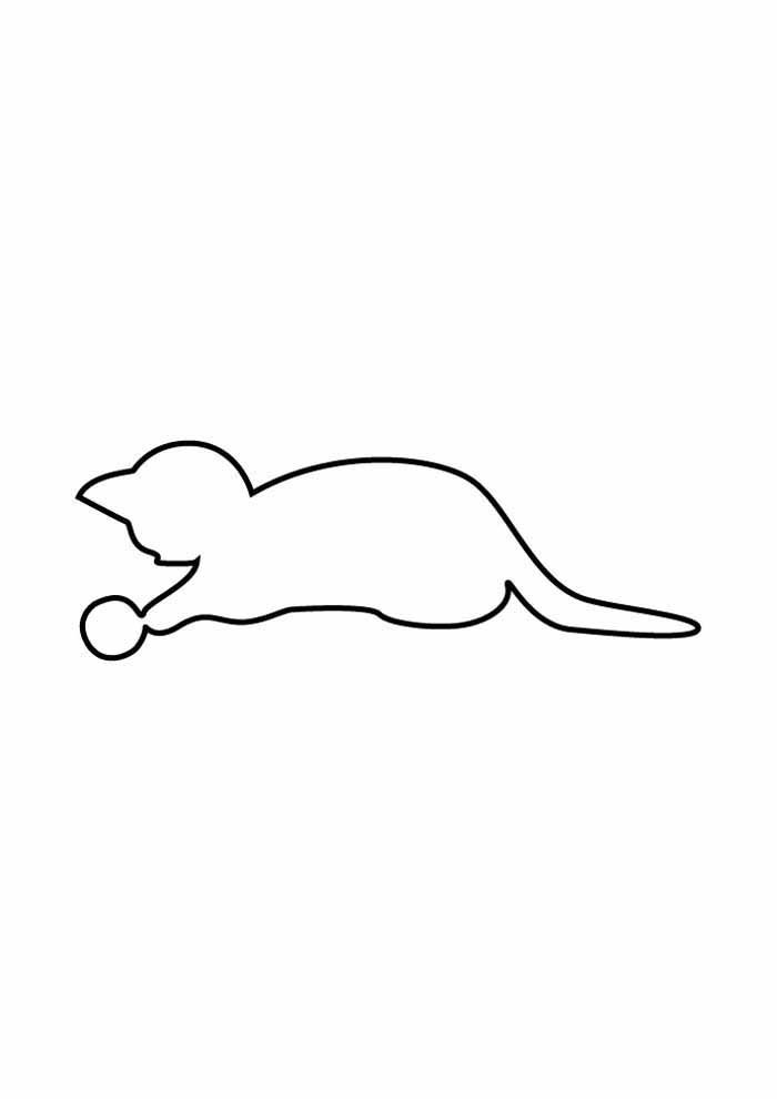 cat coloring page playing with ball