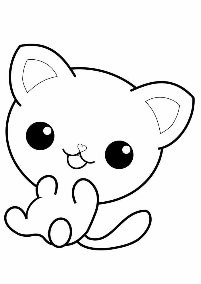 cat coloring page super cute