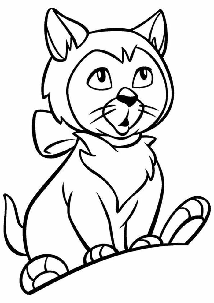 cat coloring page thoughtful