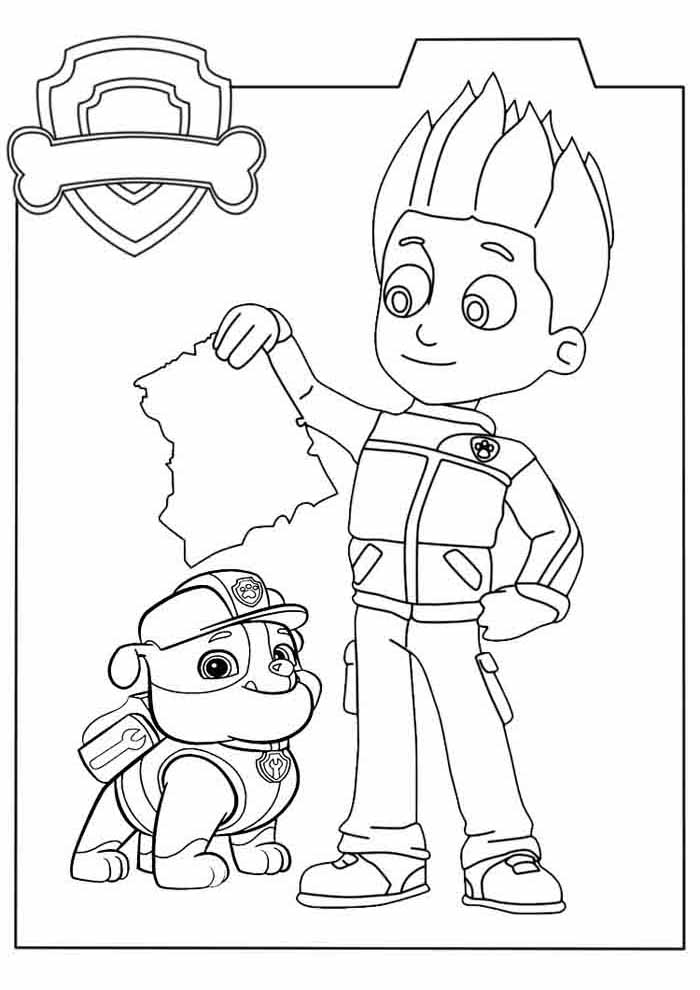 characters paw patrol coloring page