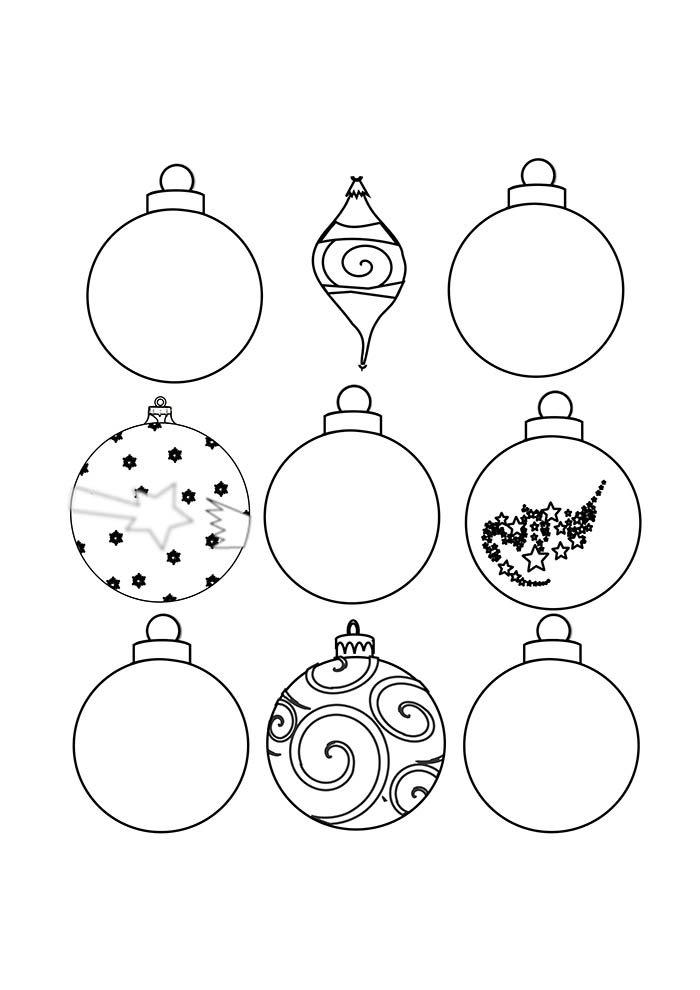 christmas balls ornaments coloring page