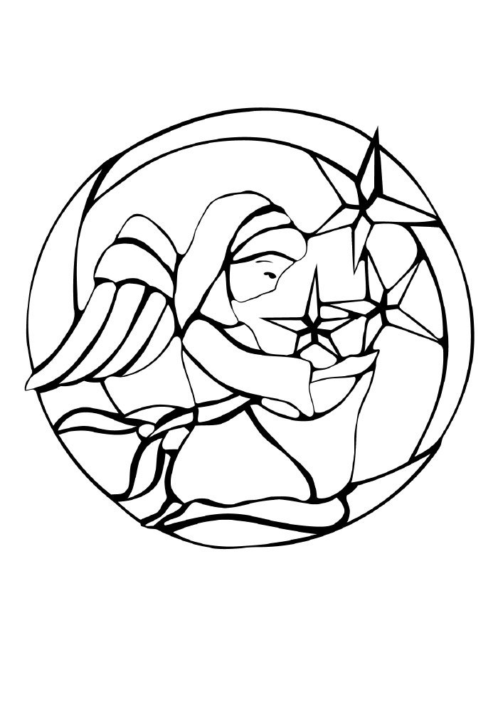christmas coloring page angel and stars