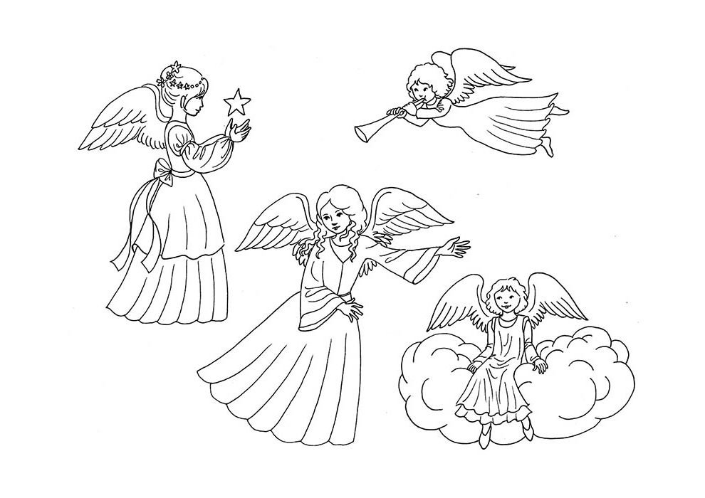 christmas coloring page angels