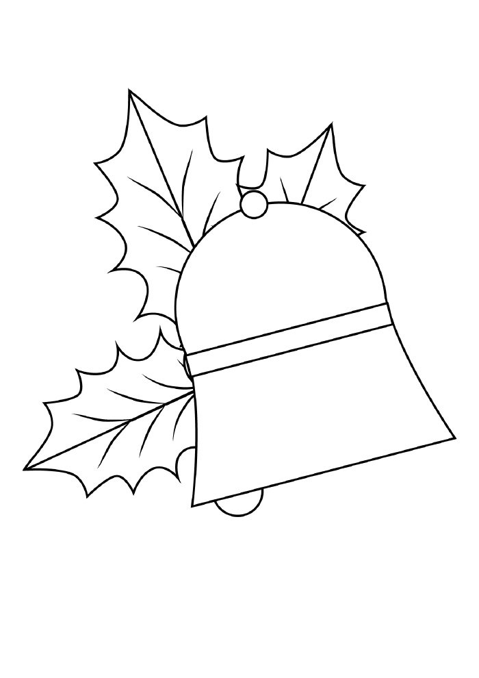 christmas coloring page bell with ornaments