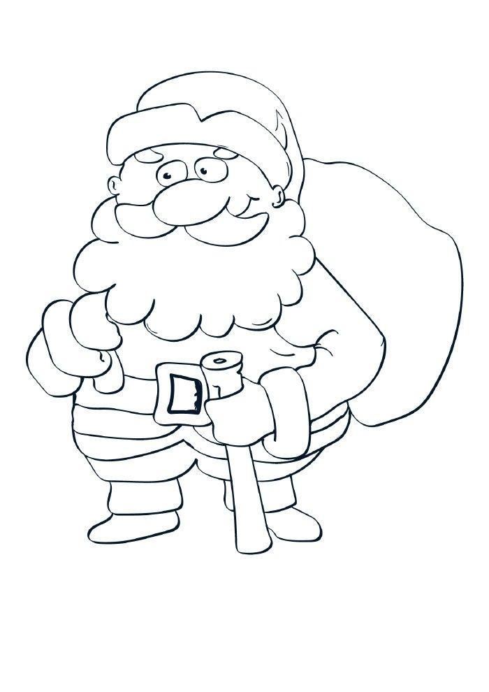 christmas coloring page cute santa claus