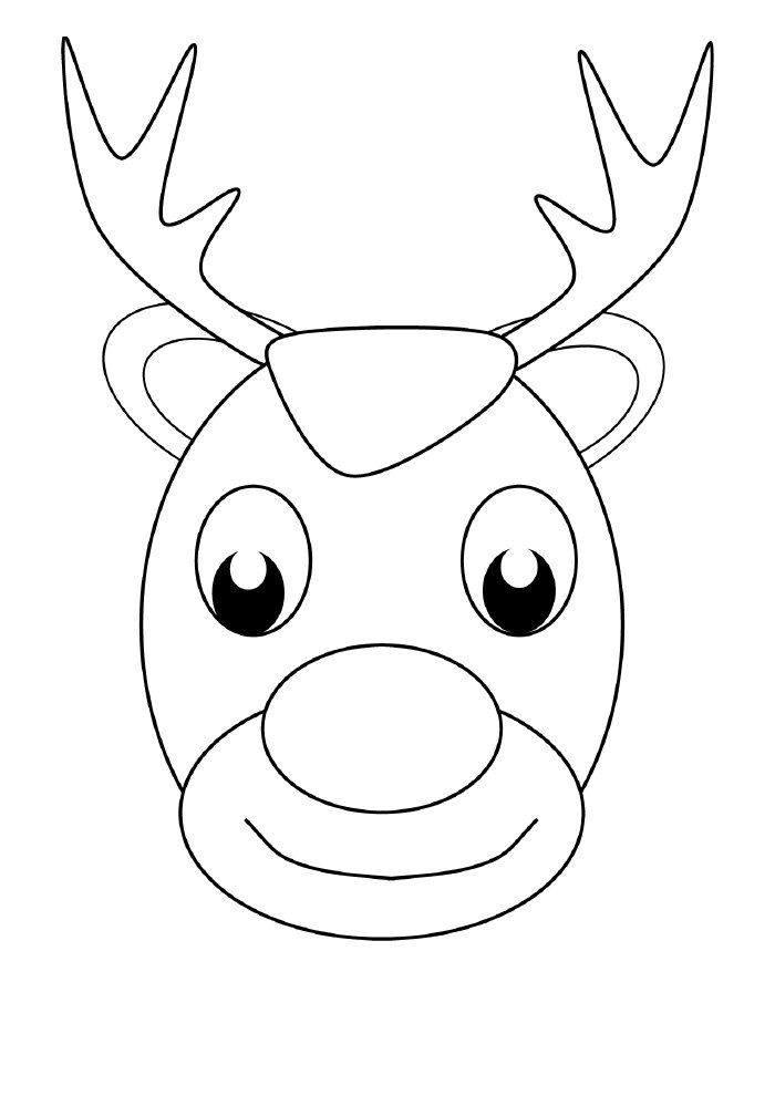 christmas coloring page happy reindeer