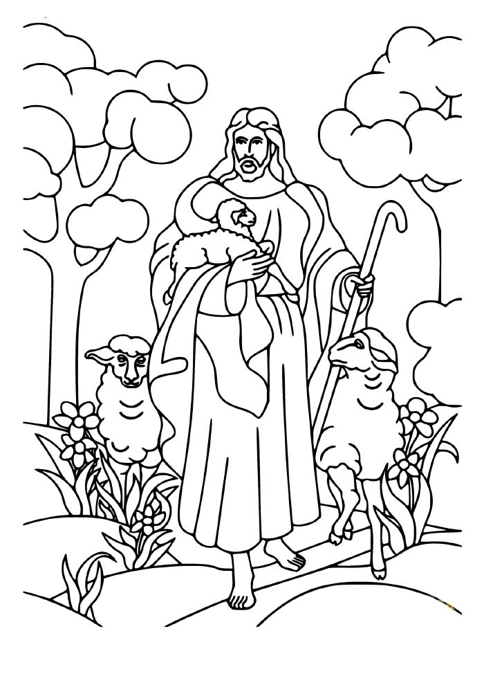 christmas coloring page jesus and sheeps