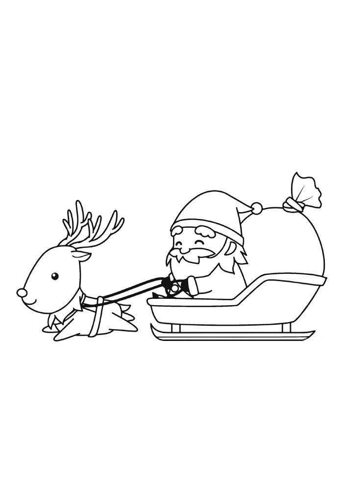 christmas coloring page santa claus and sled