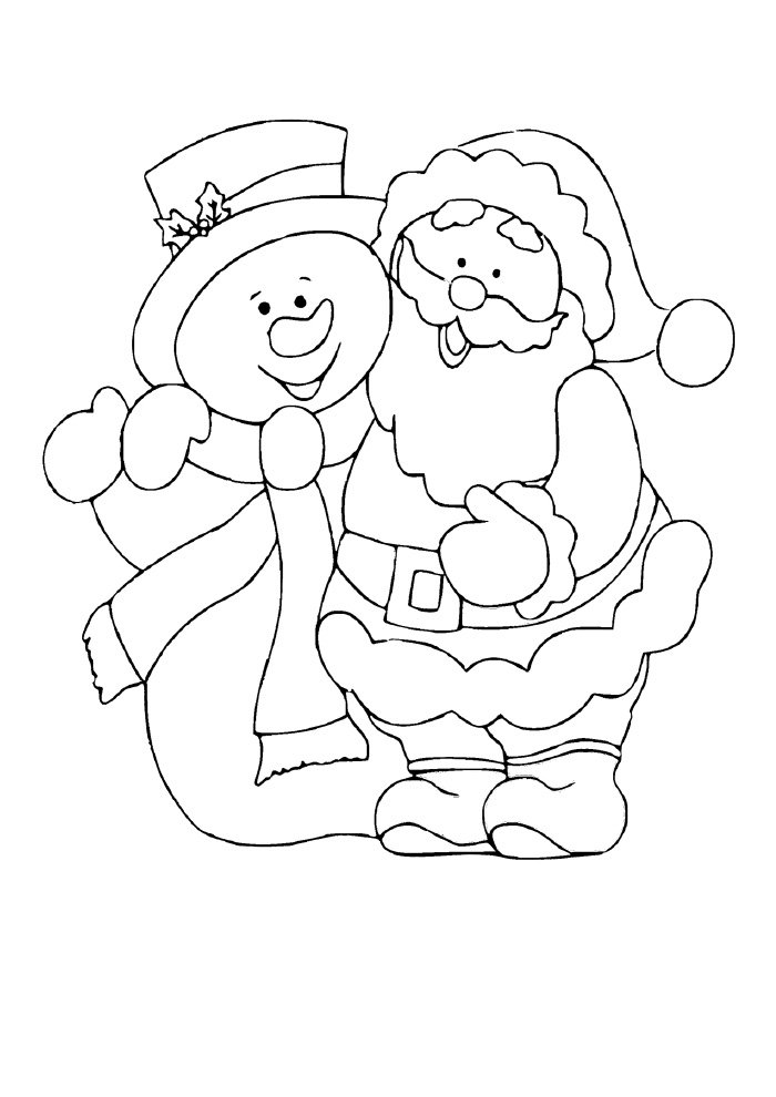 christmas coloring page santa claus and snowman