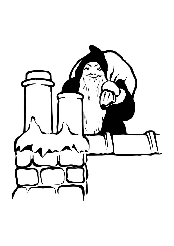 christmas coloring page santa claus in the chimney