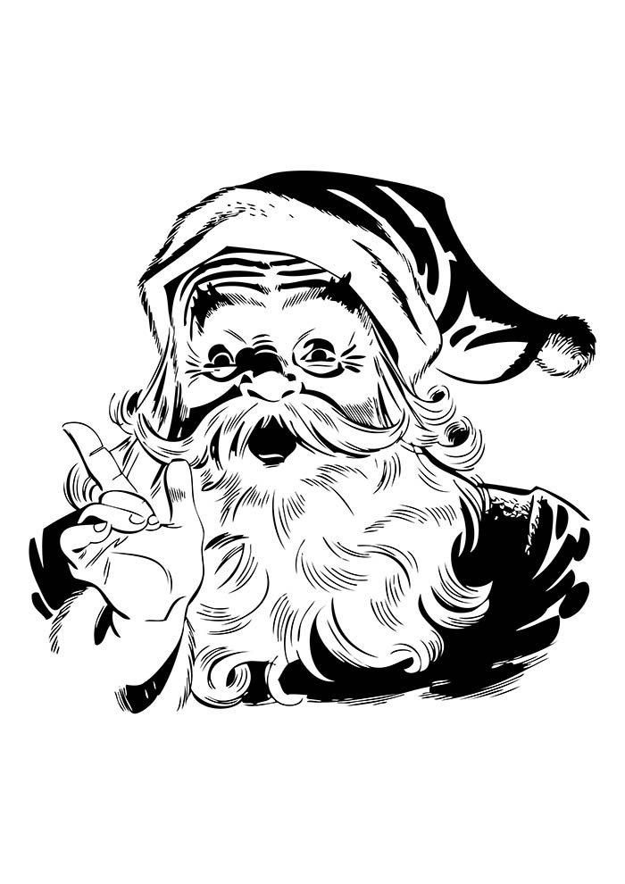 christmas coloring page santa claus portrait