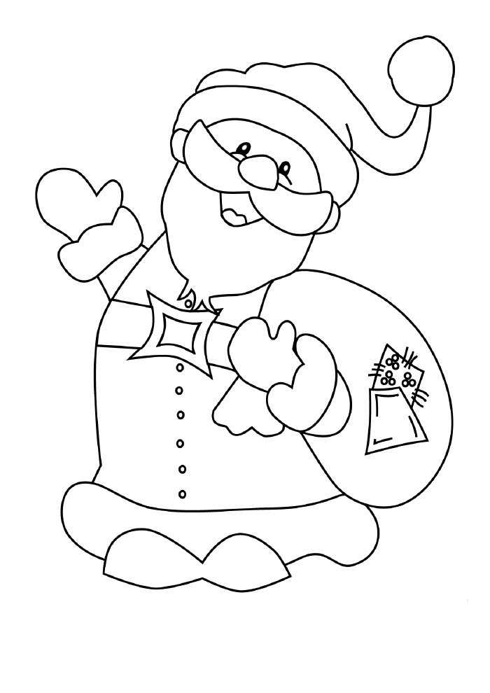christmas coloring page santa claus with gifts bag