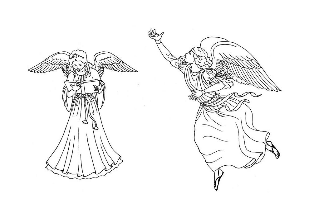christmas coloring page singer angels